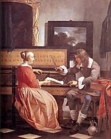 A Man and a Woman Seated by a Virginal, 1660, metsu