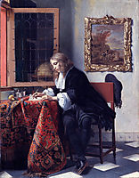 Man Writing a Letter, c.1666, metsu