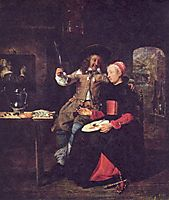 Portrait of the Artist with his Wife Isabella de Wolff in a Tavern, 1661, metsu