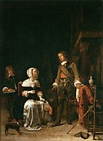 A Soldier Visiting a Young Lady, 1661, metsu