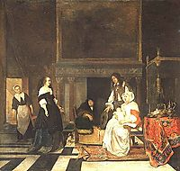 Visit to the Nursery, after the Birth of Sara Hinlopen, 1661, metsu