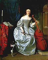 Woman Playing a Viola de Gamba, 1663, metsu