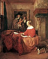 A Woman Seated at a Table and a Man Tuning a Violin, metsu
