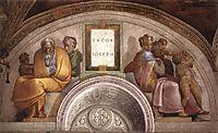 The Ancestors of Christ: Jacob, Joseph, 1512, michelangelo