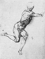 Battle of Cascina: Study for a figure, 1504-1505, michelangelo