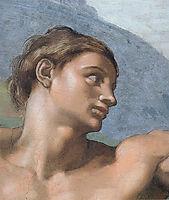 Ceiling of the Sistine Chapel: Genesis, The Creation of Adam: Adam-s face, 1508-1512, michelangelo