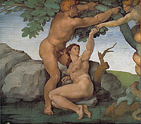 Ceiling of the Sistine Chapel: Genesis, The Fall and Expulsion from Paradise The Original Sin, 1508-1512, michelangelo