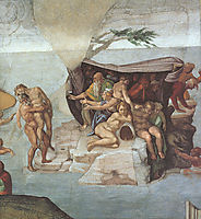 Ceiling of the Sistine Chapel: Genesis, Noah 79: The Flood, right view, 1508-1512, michelangelo