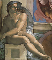 Ceiling of the Sistine Chapel: Ignudi, next to Separation of Land and the Persian Sybil: left, 1508-1512, michelangelo