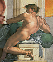 Ceiling of the Sistine Chapel: Ignudi, next to Separation of Land and the Persian Sybil: right, 1508-1512, michelangelo
