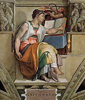 Ceiling of the Sistine Chapel: Sybils: Erithraea, 1508-1512, michelangelo