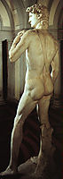 David: detail: side rear view, 1504, michelangelo