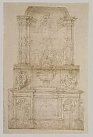 Design for Julius II tomb (first version), c.1540, michelangelo