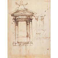 Design for Laurentian library doors and an external window, c.1526, michelangelo