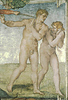The Fall of Adam and Eve, detail, michelangelo