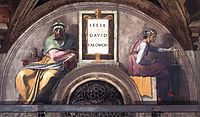 Lunette XI Jesse, David and Solomon, Sistine Chapel, 1511, michelangelo