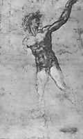 Male nude, study for the Battle of Cascina, 1503, michelangelo