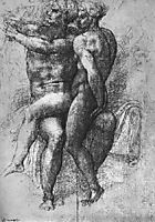 Nude female seated on the knees of a seated male nude: Adam and Eve, michelangelo