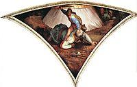 Sistine Chapel Ceiling: David and Goliath, 1509, michelangelo