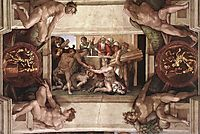 Sistine Chapel Ceiling: Sacrifice of Noah, 1512, michelangelo