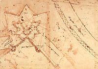 Sketch of fortifications of Porta del Prato in Florence  (ground floor plan), c.1525, michelangelo