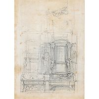Studies for a double tomb wall, c.1520, michelangelo
