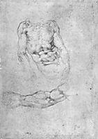 Studies for Pieta or The Last Judgement, 1525-1535, michelangelo