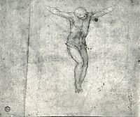Study for a Christ on the Cross, 1546-1558, michelangelo