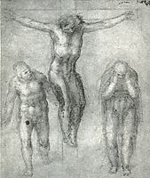 Study for Christ on the cross with Mourners, 1546-1548, michelangelo