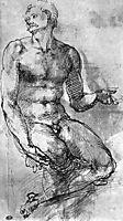 Study of nude man, michelangelo