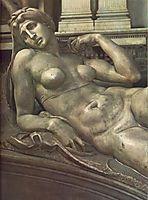 Tomb of Lorenzo de- Medici: Dawn: detail: 1, 1524-1531, michelangelo