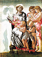 The Virgin and Child with Saint John and Angels (Manchester Madonna), c.1497, michelangelo