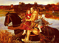 A Dream of the Past: Sir Isumbras at the Ford, 1857, millais