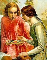 Lorenzo and Isabella detail, 1849, millais