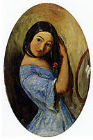 A Young Girl Combing Her Hair, millais