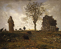Autumn landscape with a flock of Turkeys, 1873, millet