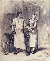 The Blacksmith and His Bride, 1848, millet
