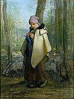 The Knitting Shepherdess, 1857, millet