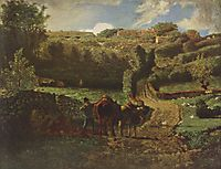 Manor farm Cousin in Greville, 1855, millet