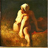 Naked peasant girl at the river, millet