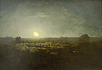 The sheep pen, moonlight, 1873, millet