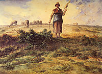 A Shepherdess and her Flock, millet