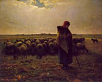 Shepherdess with her flock, 1864, millet
