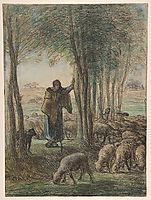 A Shepherdess and Her Flock in the Shade of Trees, c.1855, millet