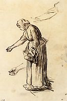 Study for a Woman Feeding Chickens, 1859, millet