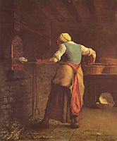 Woman baking bread, 1854, millet