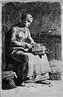 Woman Carding Wool, c.1855, millet