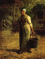 Woman Carrying Firewood and a Pail, 1860, millet