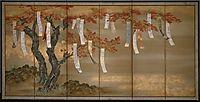 Autumn Maples with Poem Slips, mitsuoki