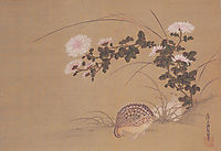 Quail and Chrysanthemums, mitsuoki